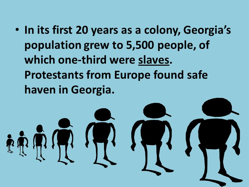 In its first 20 years as a colony, Georgia's population grew to 5,500 people, of which one-third were slaves.