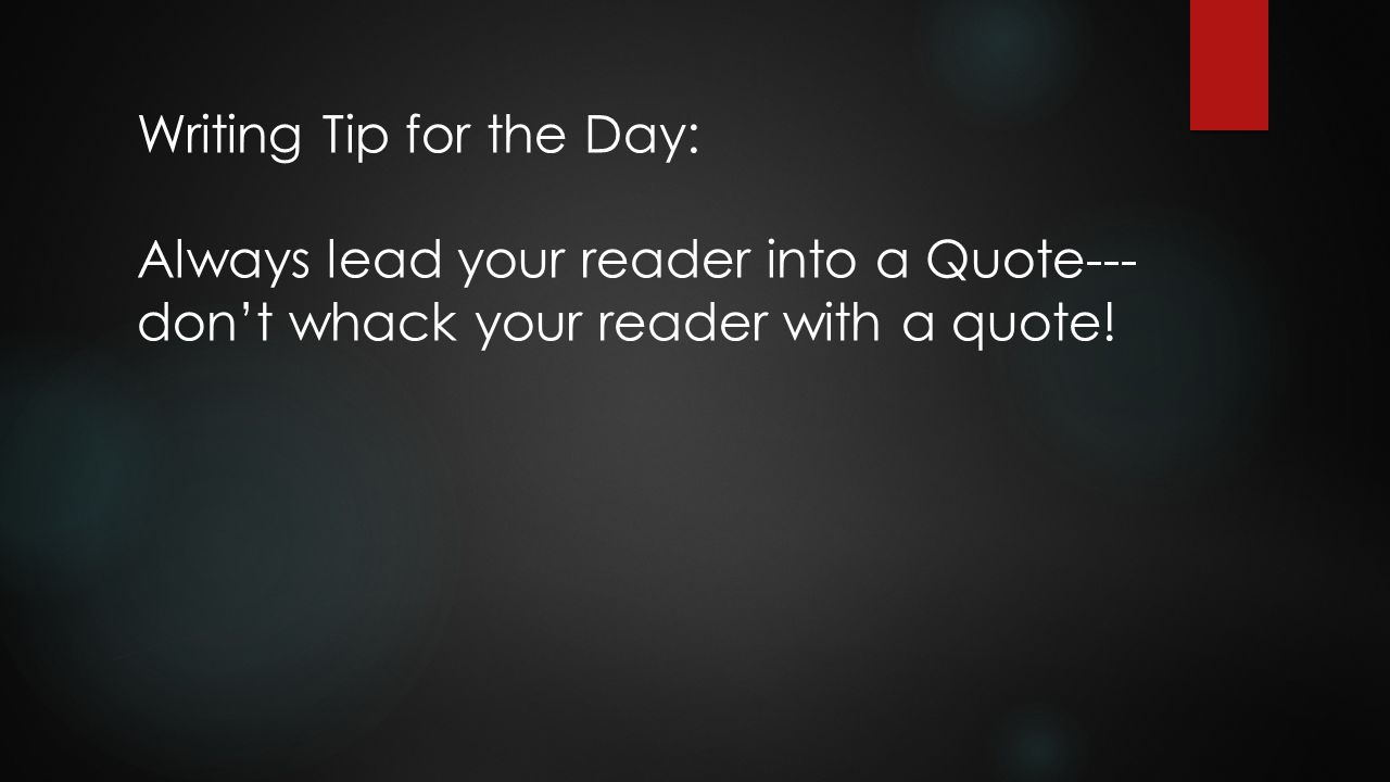 Writing Tip for the Day: