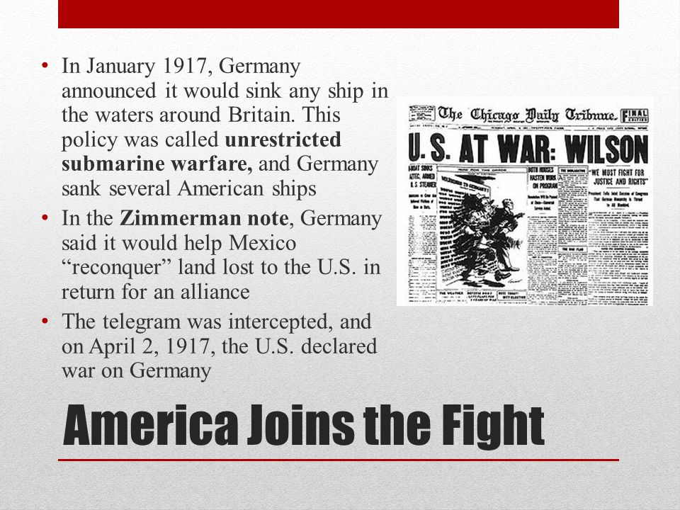 America Joins the Fight
