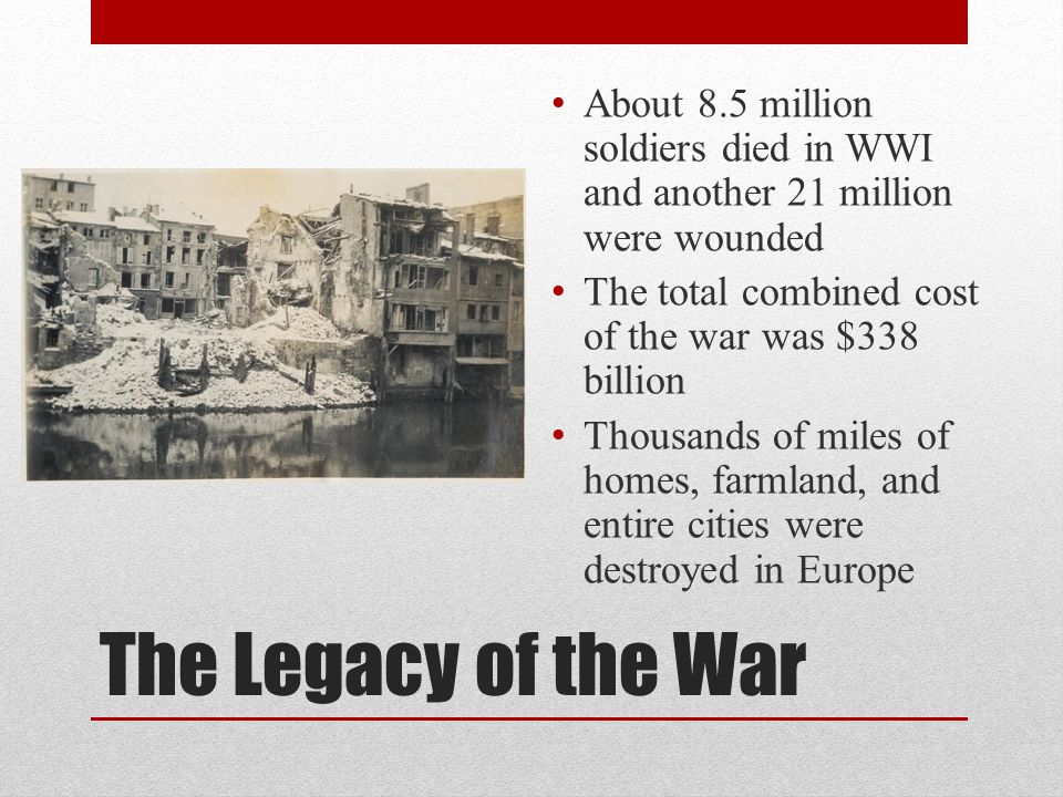 About 8.5 million soldiers died in WWI and another 21 million were wounded