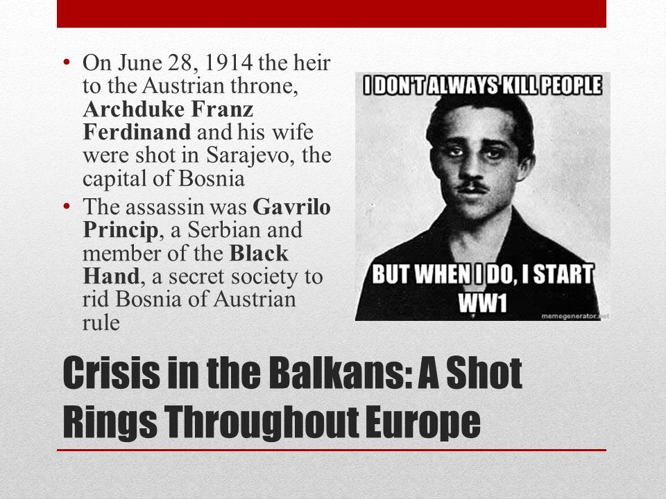 Crisis in the Balkans: A Shot Rings Throughout Europe
