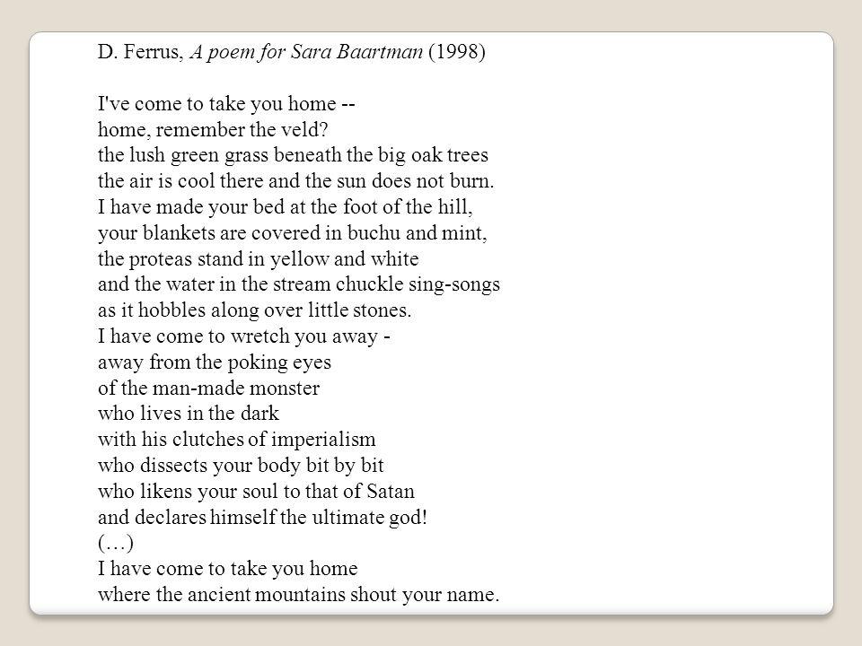 D. Ferrus, A poem for Sara Baartman (1998)