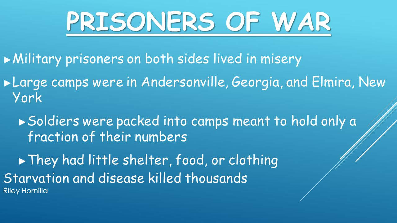 Prisoners of War Military prisoners on both sides lived in misery
