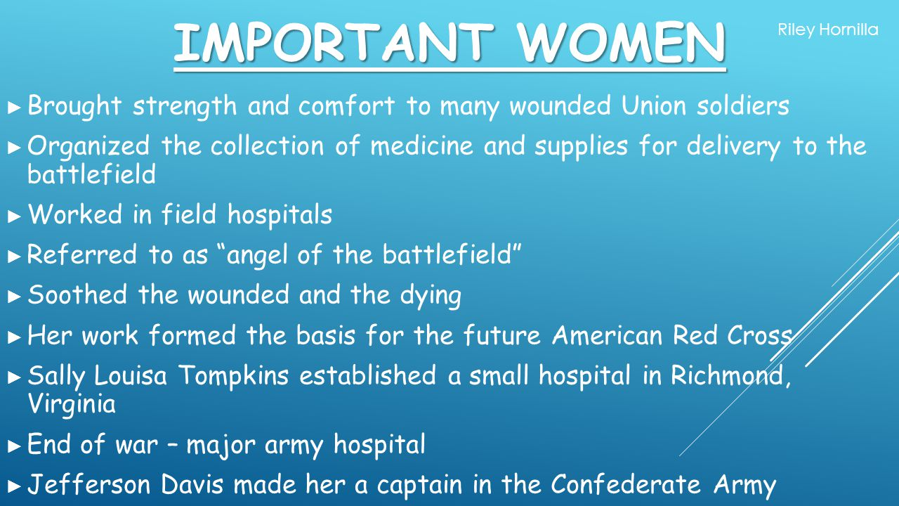 Important Women Riley Hornilla. Brought strength and comfort to many wounded Union soldiers.