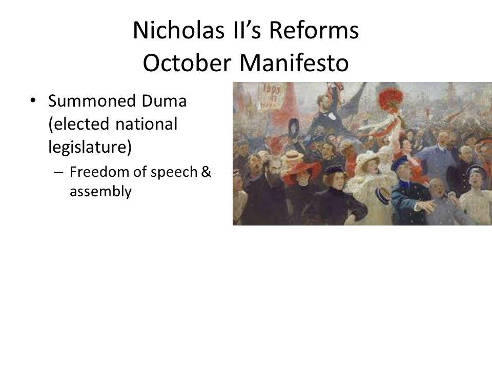 Nicholas II's Reforms October Manifesto
