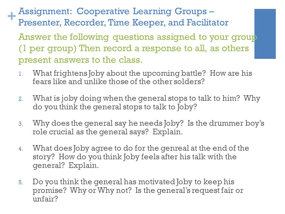 Assignment: Cooperative Learning Groups – Presenter, Recorder, Time Keeper, and Facilitator
