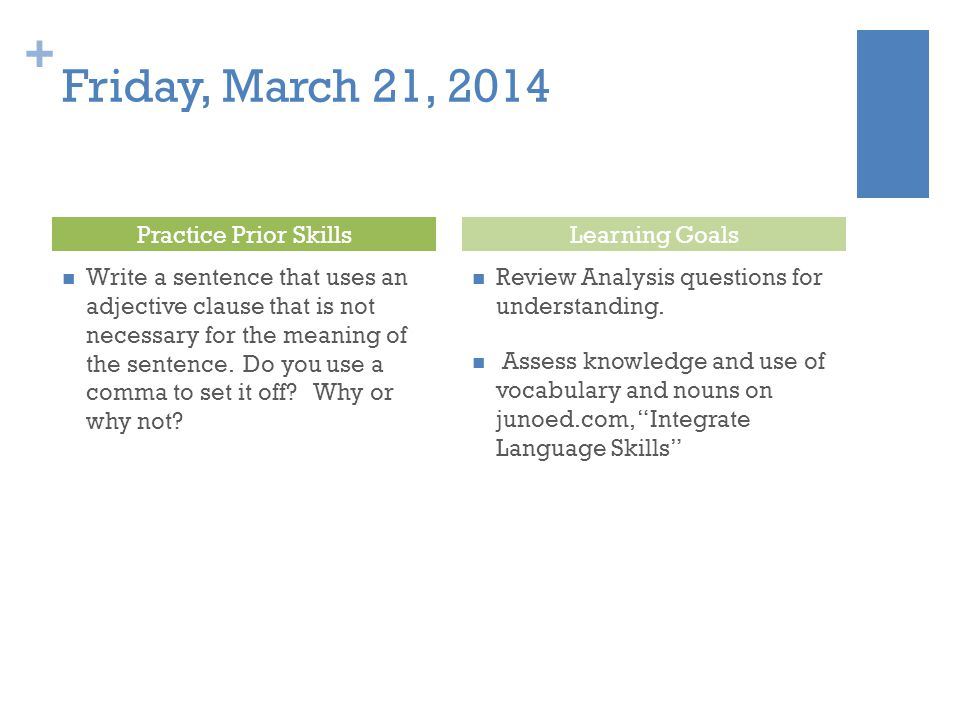 Friday, March 21, 2014 Practice Prior Skills Learning Goals