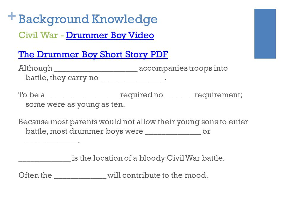 Background Knowledge Civil War - Drummer Boy Video