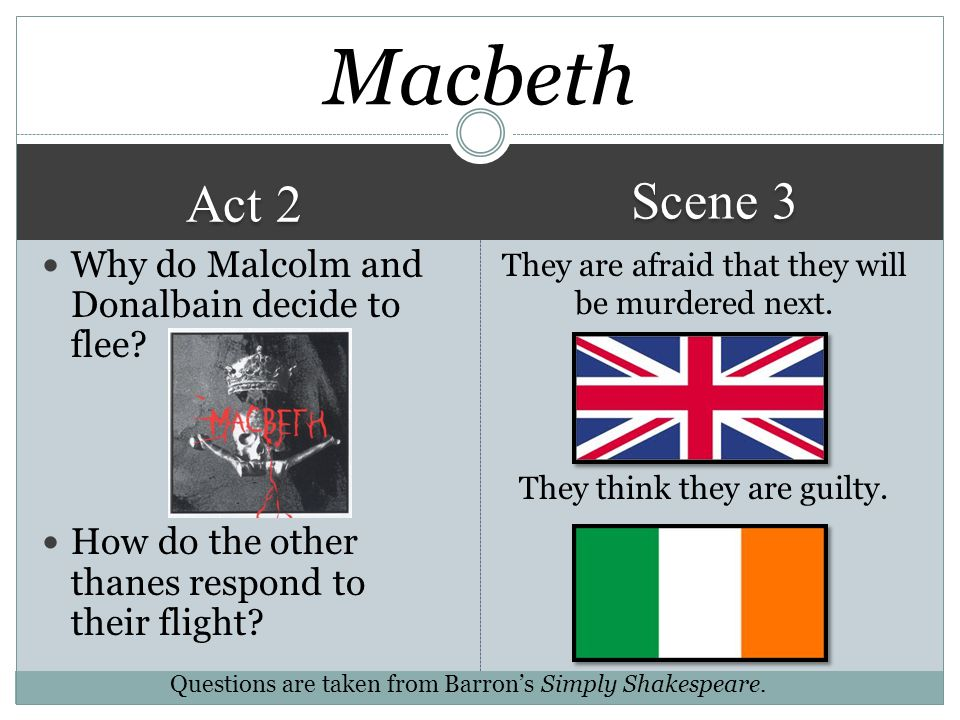 Macbeth Scene 3 Act 2 Why do Malcolm and Donalbain decide to flee