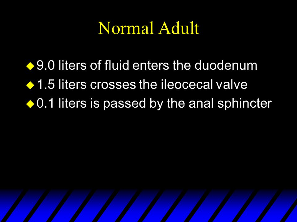 Normal Adult 9.0 liters of fluid enters the duodenum