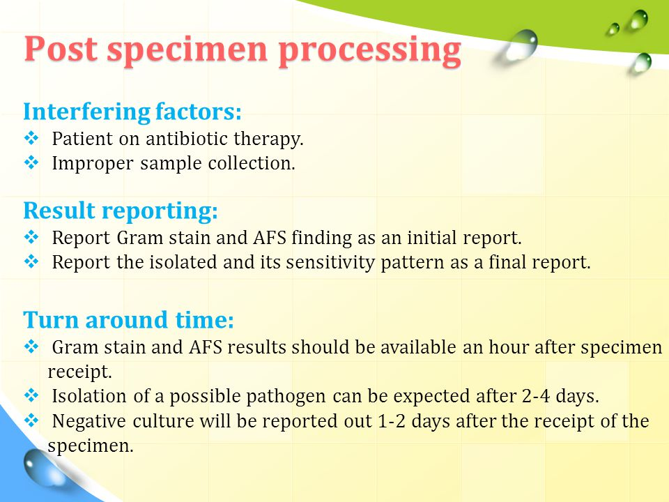 Post specimen processing