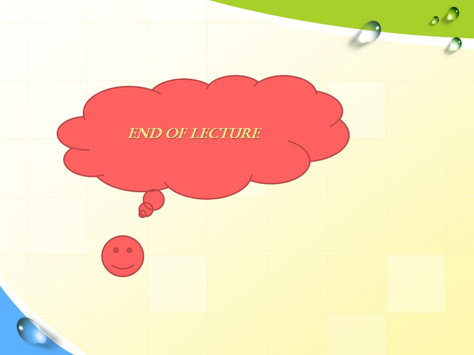 End of Lecture