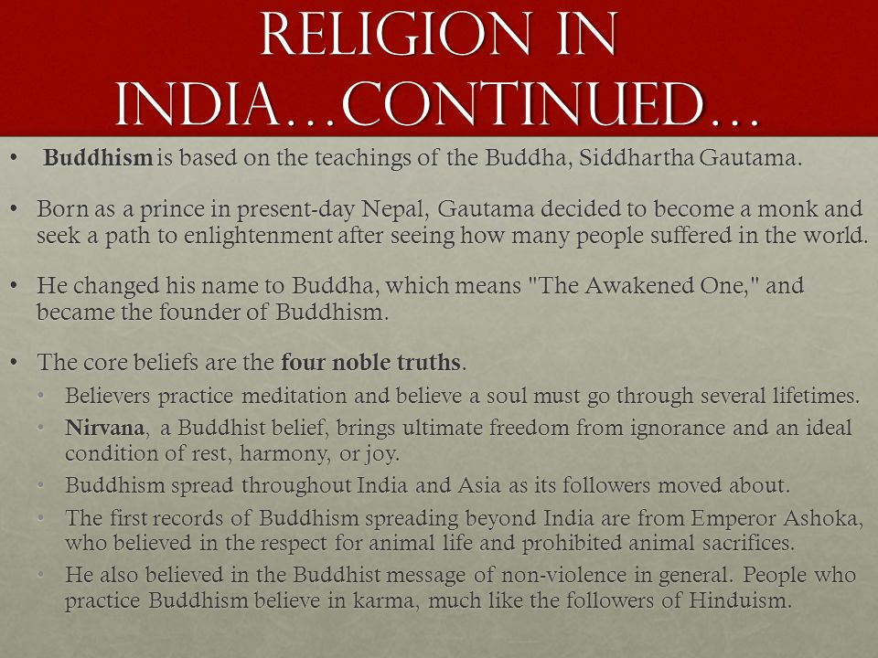 Religion in India…continued…