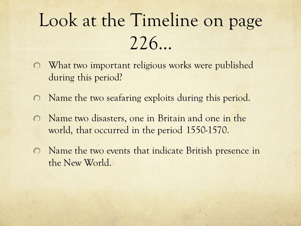 Look at the Timeline on page 226…