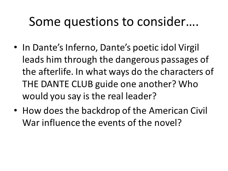 Some questions to consider….