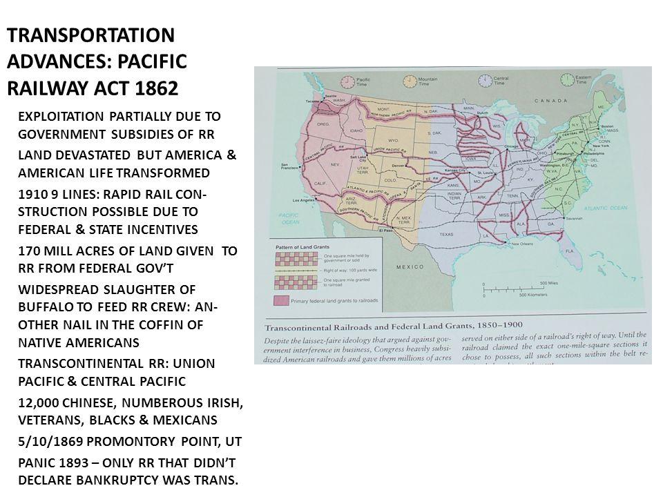TRANSPORTATION ADVANCES: PACIFIC RAILWAY ACT 1862