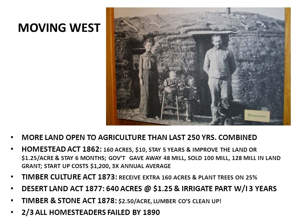 MOVING WEST MORE LAND OPEN TO AGRICULTURE THAN LAST 250 YRS. COMBINED
