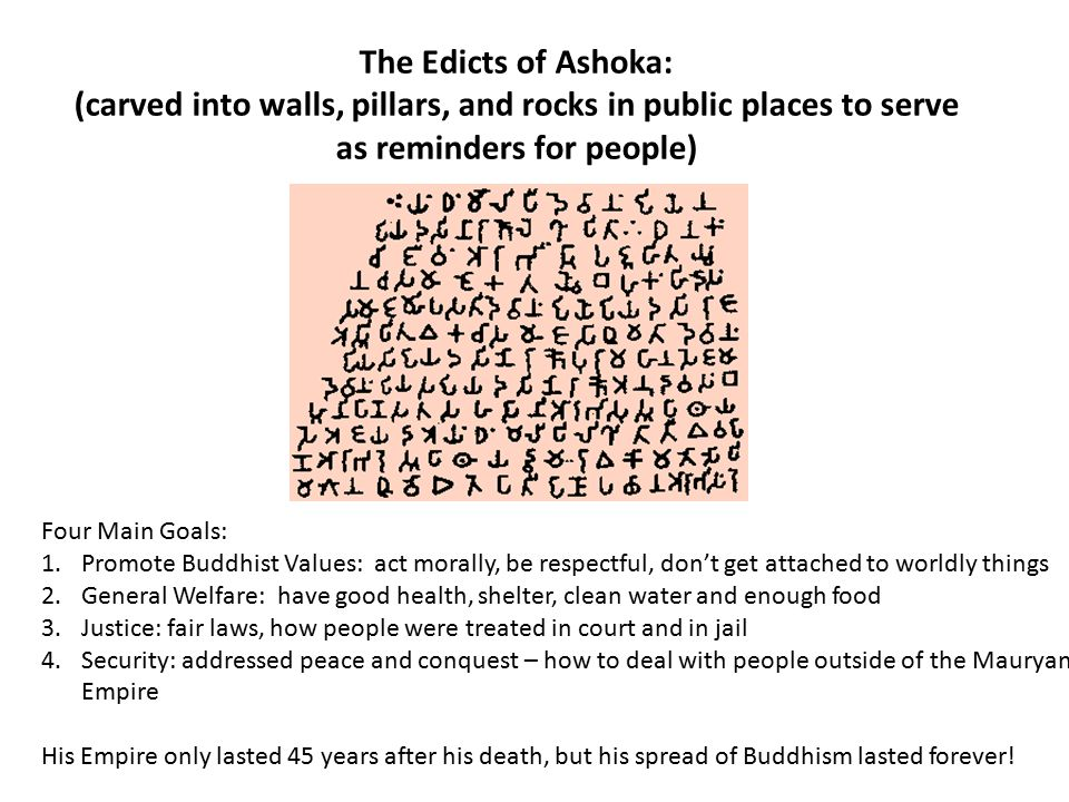 The Edicts of Ashoka: (carved into walls, pillars, and rocks in public places to serve as reminders for people)