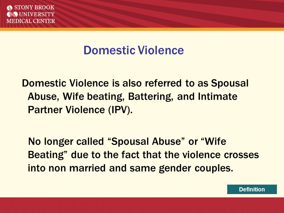 Domestic Violence Domestic Violence is also referred to as Spousal Abuse, Wife beating, Battering, and Intimate Partner Violence (IPV).