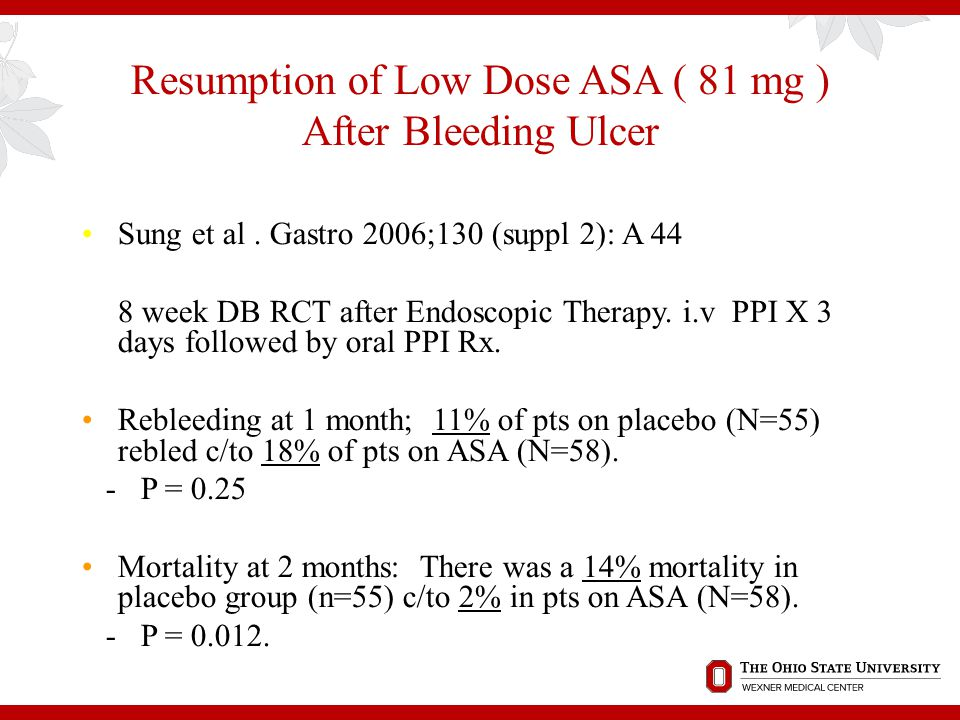 Resumption of Low Dose ASA ( 81 mg ) After Bleeding Ulcer