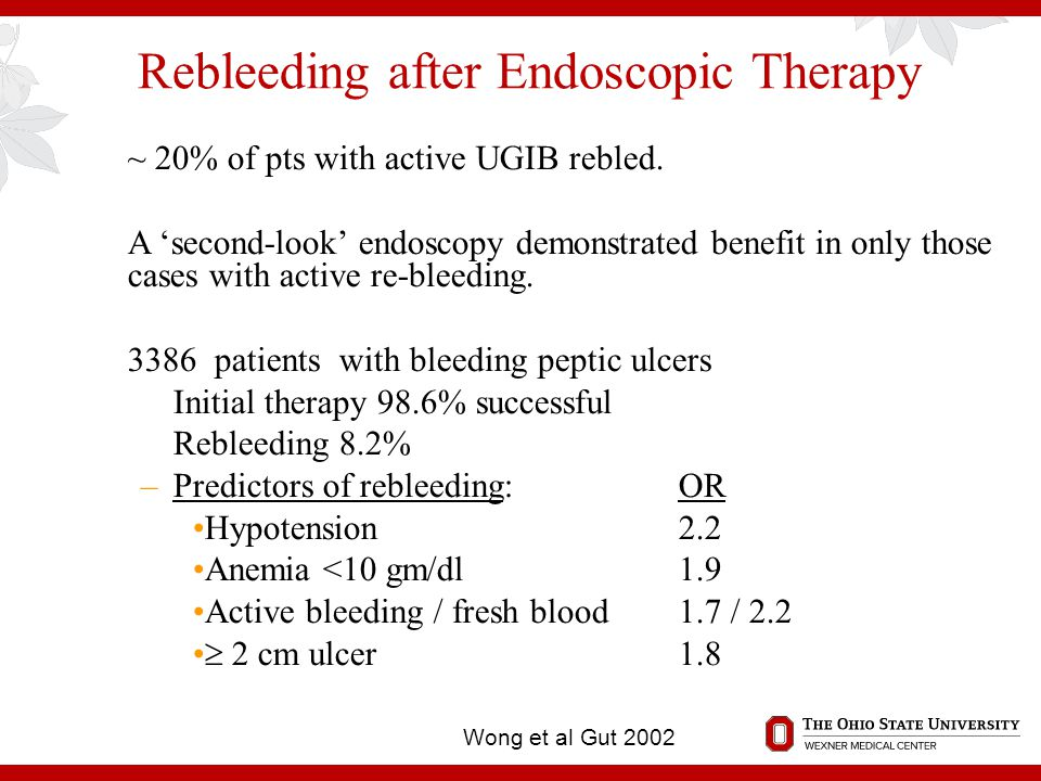 Rebleeding after Endoscopic Therapy