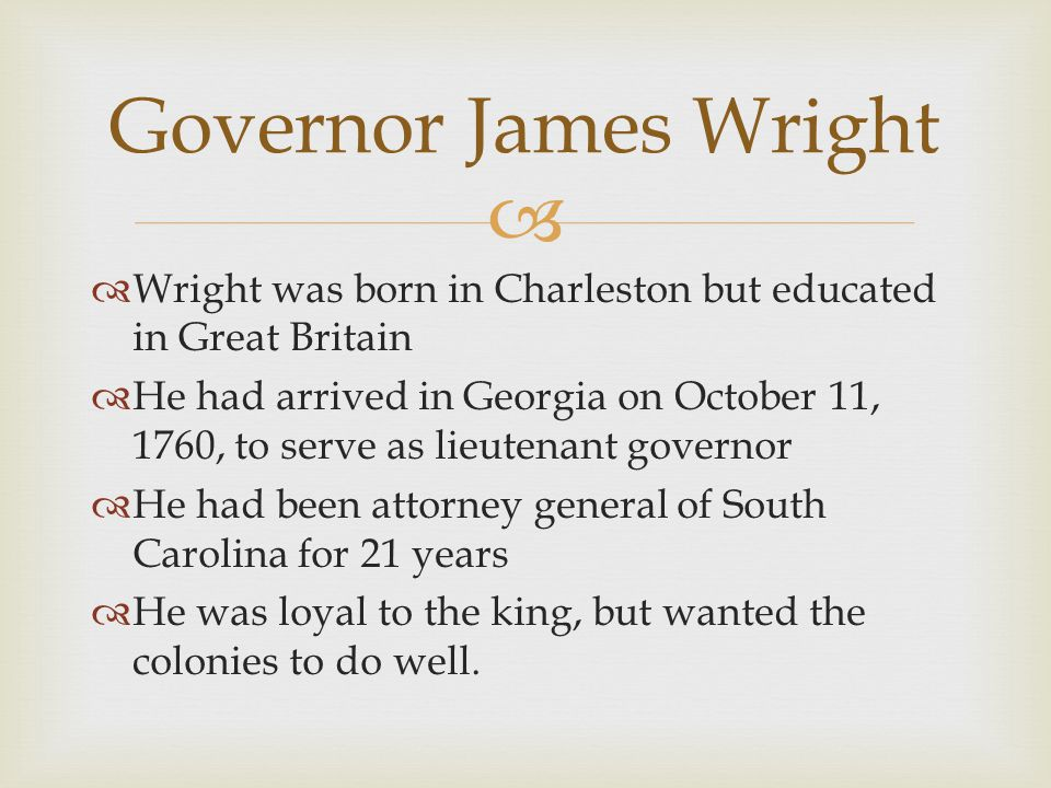 Governor James Wright Wright was born in Charleston but educated in Great Britain.