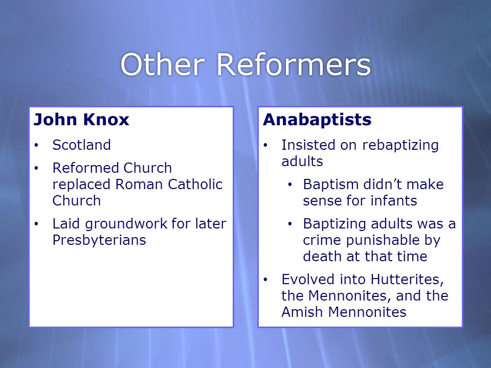 Other Reformers John Knox Anabaptists Scotland