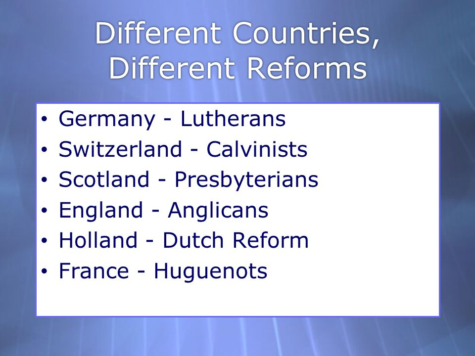 Different Countries, Different Reforms