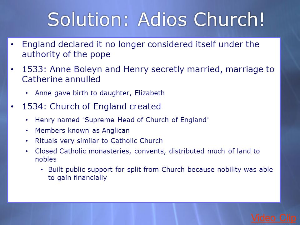 Solution: Adios Church!