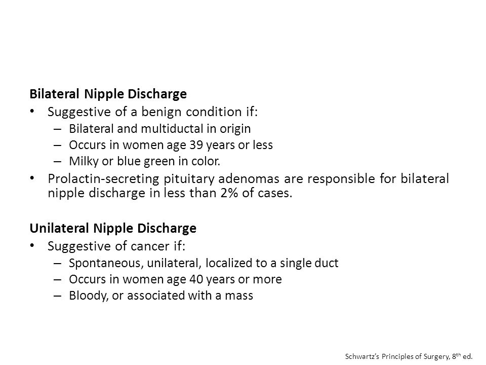 Bilateral Nipple Discharge Suggestive of a benign condition if: