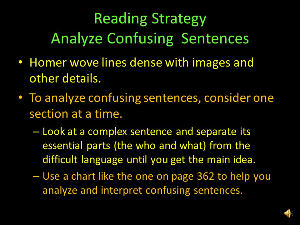 Reading Strategy Analyze Confusing Sentences