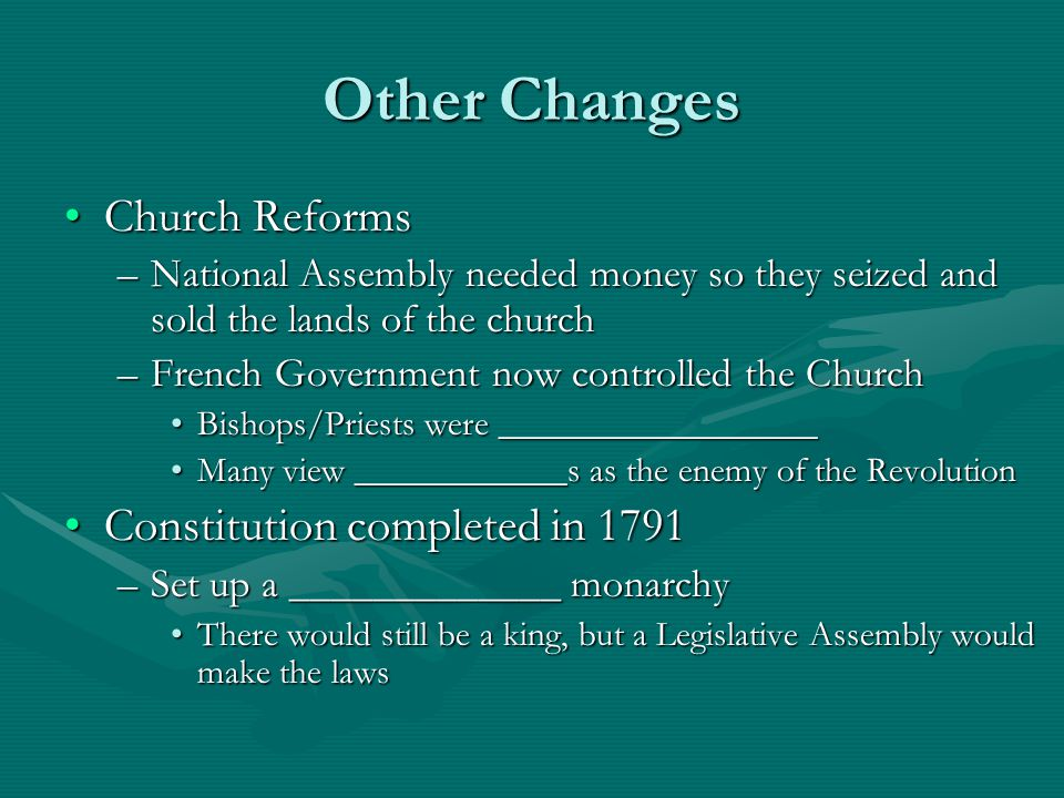 Other Changes Church Reforms Constitution completed in 1791