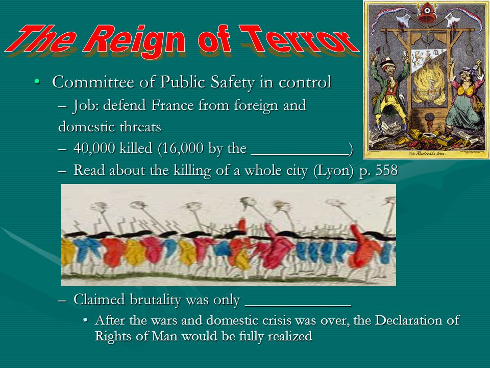 The Reign of Terror Committee of Public Safety in control