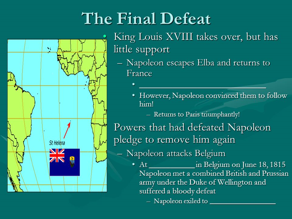 The Final Defeat King Louis XVIII takes over, but has little support