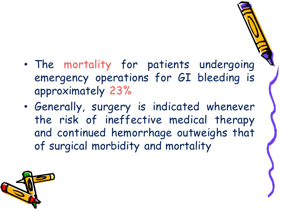 The mortality for patients undergoing emergency operations for GI bleeding is approximately 23%