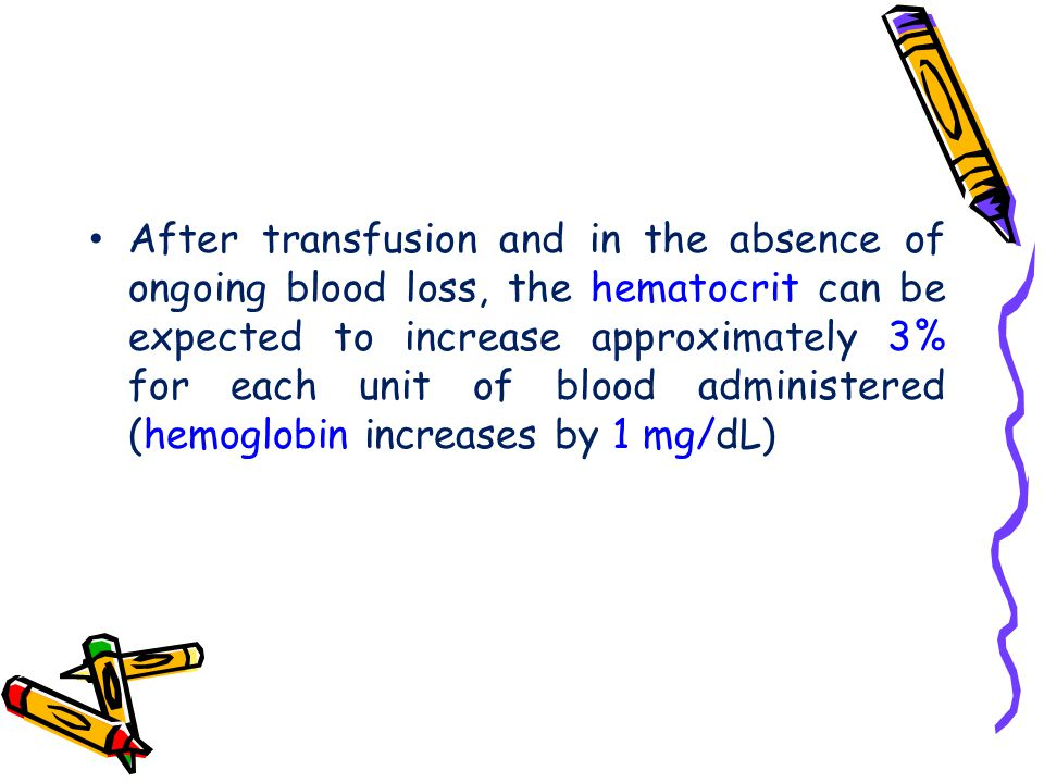 After transfusion and in the absence of ongoing blood loss, the hematocrit can be expected to increase approximately 3% for each unit of blood administered (hemoglobin increases by 1 mg/dL)