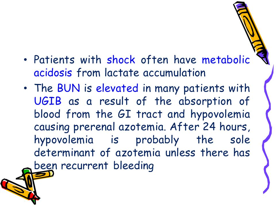 Patients with shock often have metabolic acidosis from lactate accumulation