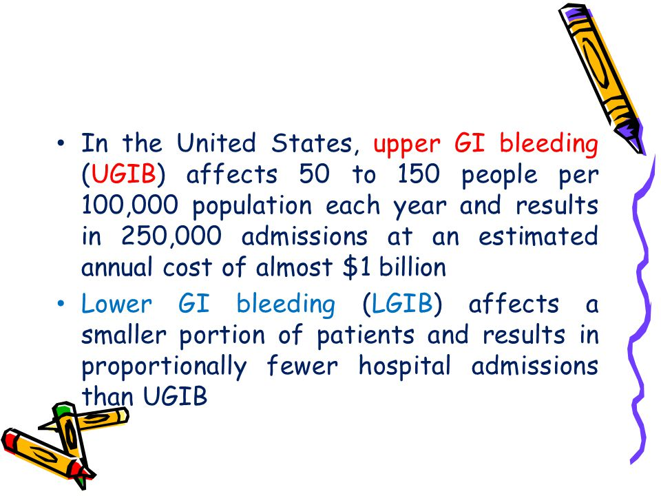 In the United States, upper GI bleeding (UGIB) affects 50 to 150 people per 100,000 population each year and results in 250,000 admissions at an estimated annual cost of almost $1 billion