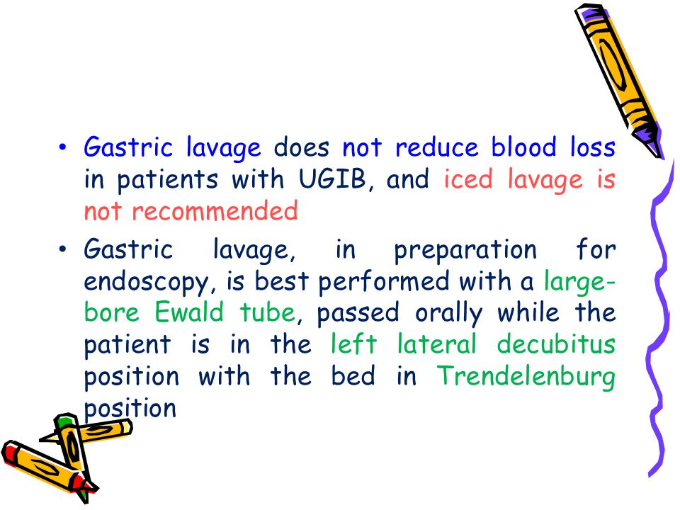 Gastric lavage does not reduce blood loss in patients with UGIB, and iced lavage is not recommended