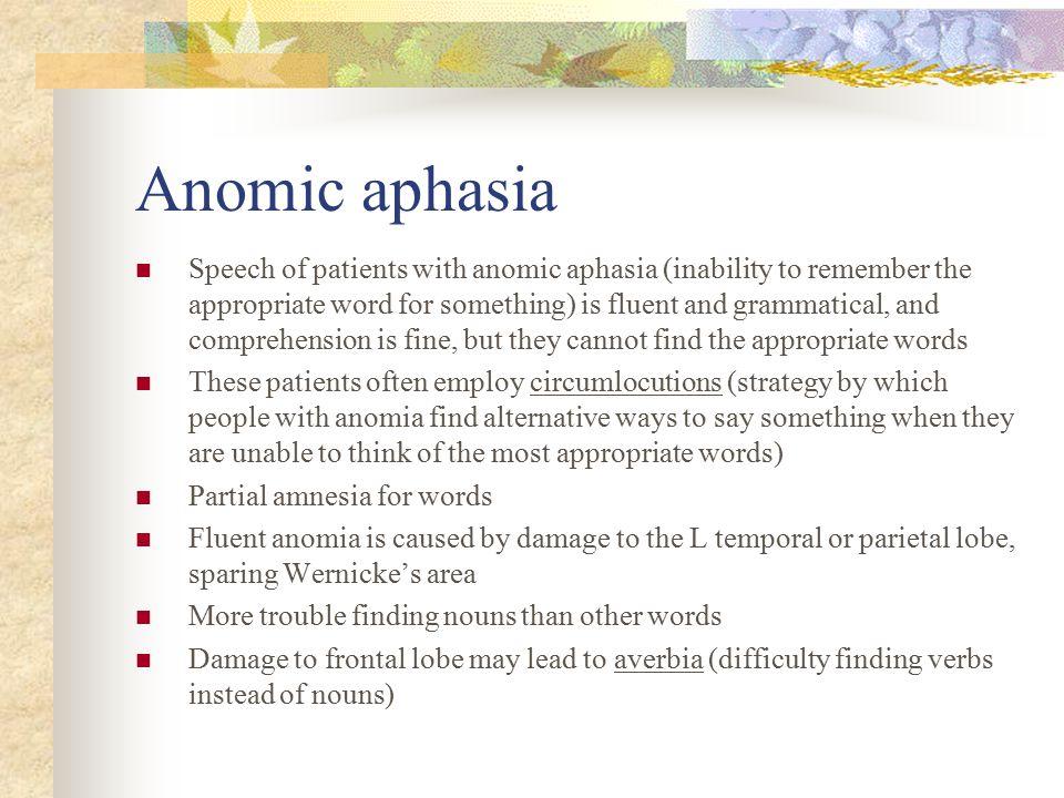 Anomic aphasia