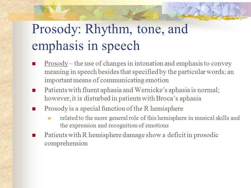 Prosody: Rhythm, tone, and emphasis in speech