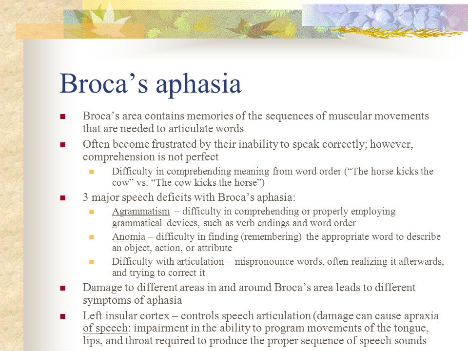 Broca's aphasia Broca's area contains memories of the sequences of muscular movements that are needed to articulate words.