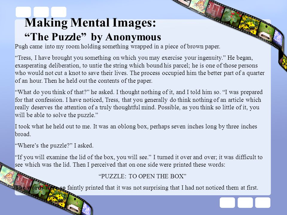 Making Mental Images: The Puzzle by Anonymous