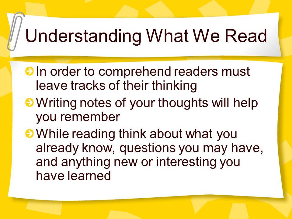 Understanding What We Read