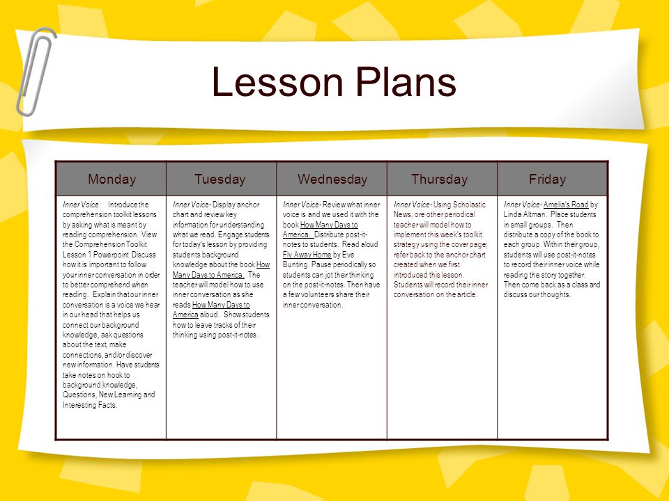 Lesson Plans Monday Tuesday Wednesday Thursday Friday