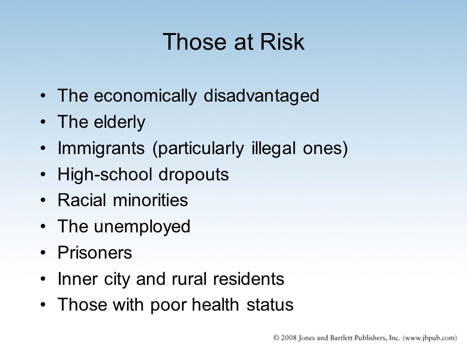 Those at Risk The economically disadvantaged The elderly