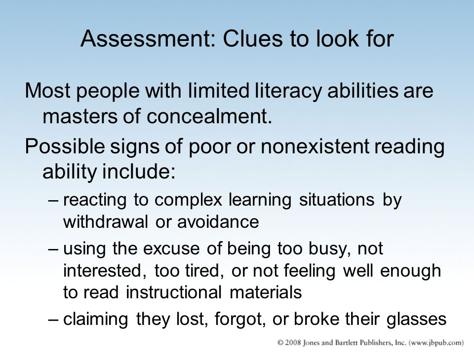 Assessment: Clues to look for