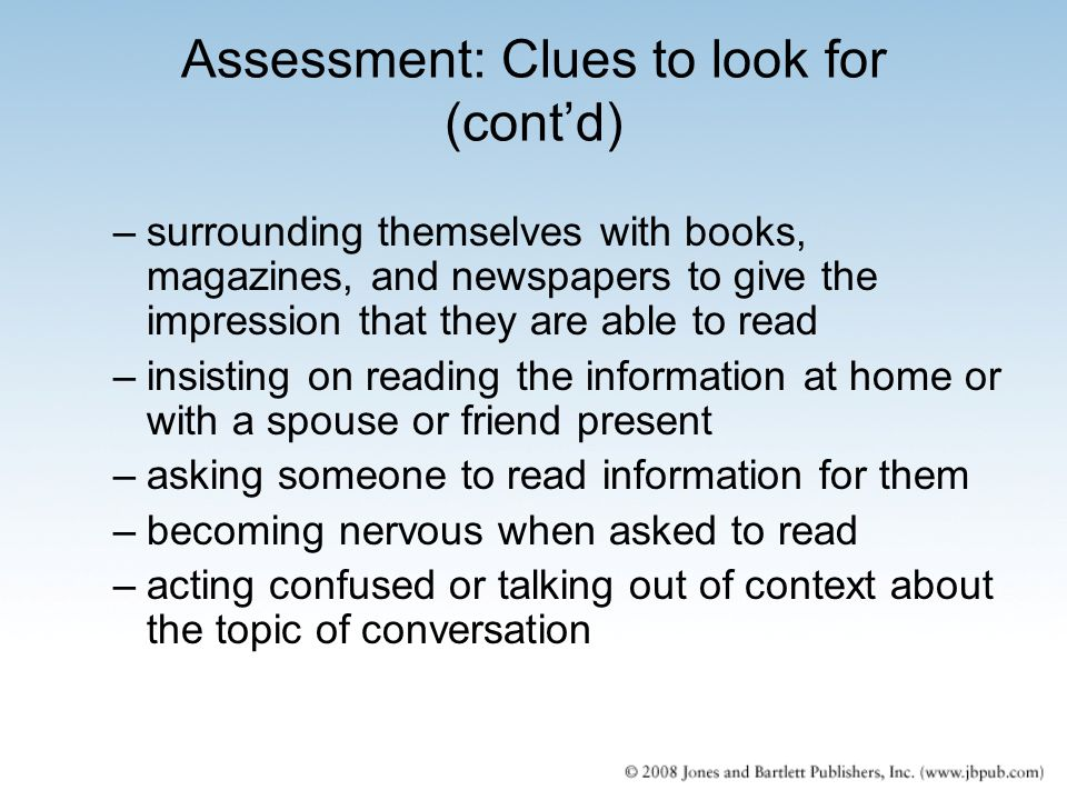 Assessment: Clues to look for (cont'd)