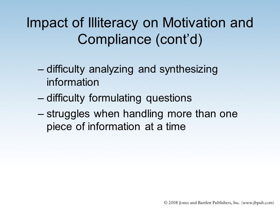 Impact of Illiteracy on Motivation and Compliance (cont'd)
