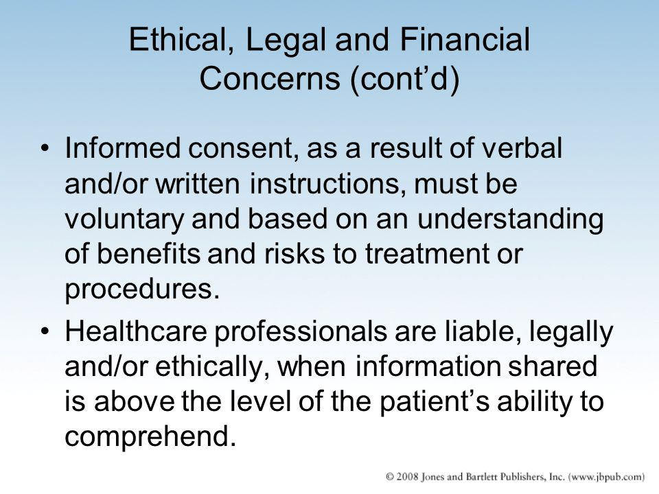 Ethical, Legal and Financial Concerns (cont'd)